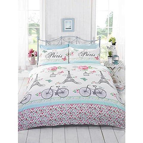 Just Contempo - Juego de funda nórdica y funda de almohada (algodón y poliéster), diseño de flores, bicicletas y torre Eiffel, mezcla de algodón, rosa/blanco/azul/verde, doble