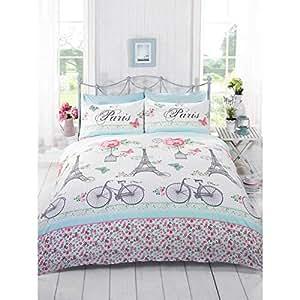 french chic paris bettbezug blumenmuster f r m dchen. Black Bedroom Furniture Sets. Home Design Ideas