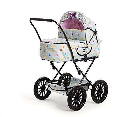 BRIO 24891159 - Puppenwagen Klassik, grau mit Punkten, Puppenwagen