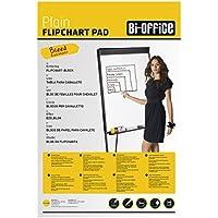 Bi-Office Bloc de papel para Pizarra Rotafolios, Euro, con perforación, 60 g/m², Blanco, 20 Hojas por Bloc,  Paquete de 5 Bloques