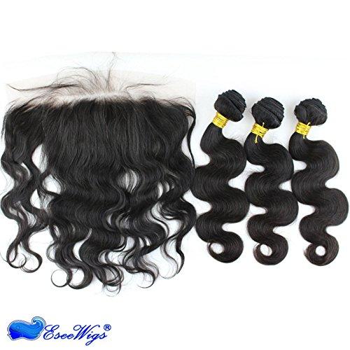 Eseewigs Remy dentelle frontale de cheveux pas cher avec fermeture 3 faisceaux avec des cheveux naturels pour les femmes noires