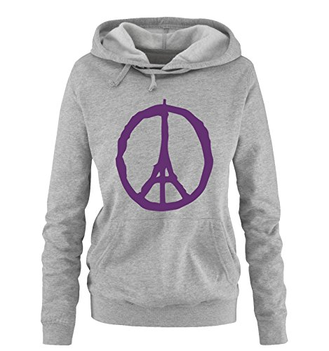 Comedy Shirts - PEACE - PARIS - Eifelturm - Solidarität - Damen Hoodie - Grau / Lila Gr. XL (Hoodie Lila Peace)