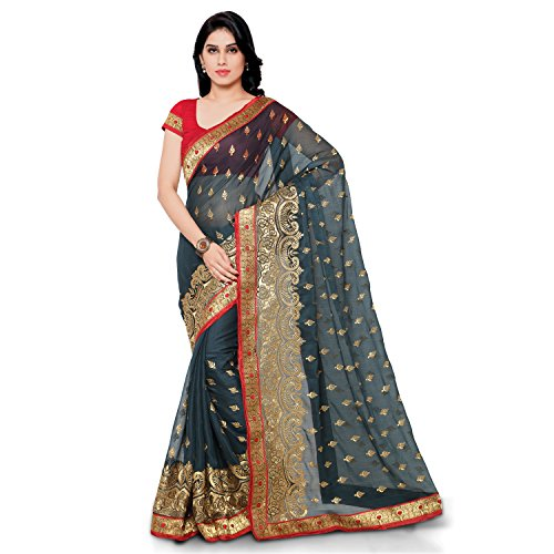 Womanista Women's Embroidered Faux Georgette Saree with Blouse Piece (FS9106-Grey-Free Size)