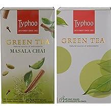 Typhoo Green Tea Masala And Plain Green Tea, 25 Tea Bags Each (Pack of 2)