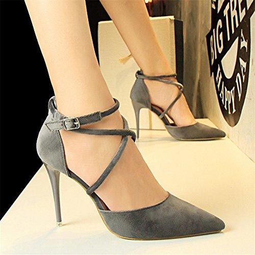 z&dw Élégant sexy Show Slim avec de hauts talons en daim de la bouche peu profonde pointue sandales de la bande transversale creuse Gris