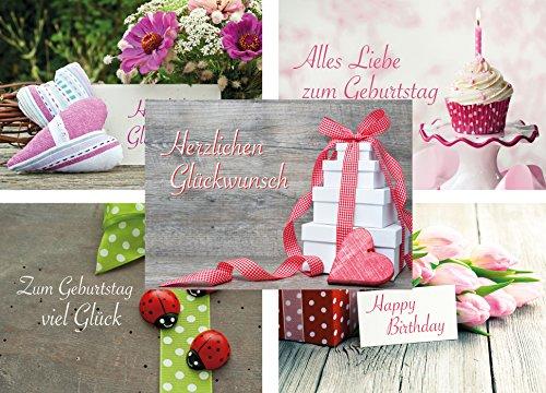 Geburtstagskarten-Set mit 20 klassischen Geburtstags-Postkarten, 5 Motive mit jeweils 4 Geburtstagskarten, Aufschrift Herzlichen Glückwunsch, Alles Liebe zum Geburtstag, Happy Birthday und zum Geburtstag viel Glück