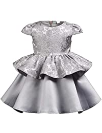 e9c0978b1355 Wish littlle Kids Girl Dress Ethinic Satin Frock for Baby Girl (Gray  Polyester Flowers Lace