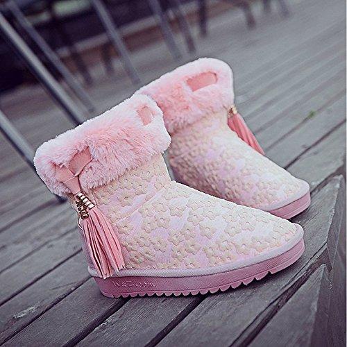 HSXZ Scarpe donna pu inverno pelliccia sintetica Comfort Snow Boots stivali tacco piatto Round Toe stivaletti/stivaletti di abbigliamento casual NERO ROSA Pink