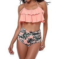 TEERFU Womens Swimwear High Waisted Padded Halter Beach Bathing Suits Bikini Set, Pink, M (10-12)