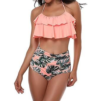 TEERFU Womens Swimwear High Waisted Padded Halter Beach Bathing Suits Bikini Set