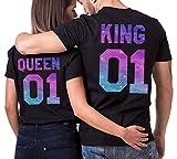 JWBBU King Queen T-Shirt Couple Shirt Coton Tees Shirts Imprimé Motif Étoilé Cadeau D'Anniversaire Mariage Tops à Manches Courtes Casual Été(Noir/Blanc,K-S+Q-M)