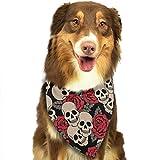 Hipiyoled Pet Bandanas Roses and Skulls Adjustbable Collars Pet Bandana Bibs for Puppy Cats