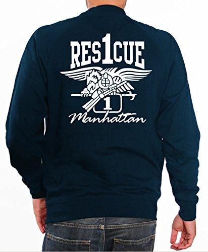 feuer1 Sweat-Shirt Rescue 1 - Pompiers avec Armoiries de la Eagle - Manhattan - New York M Bleu