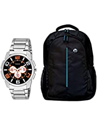 TIMER Combo Of Stylsih Silver Color Dial Watch With Black Waterproof HP Bag For Men & Boy's