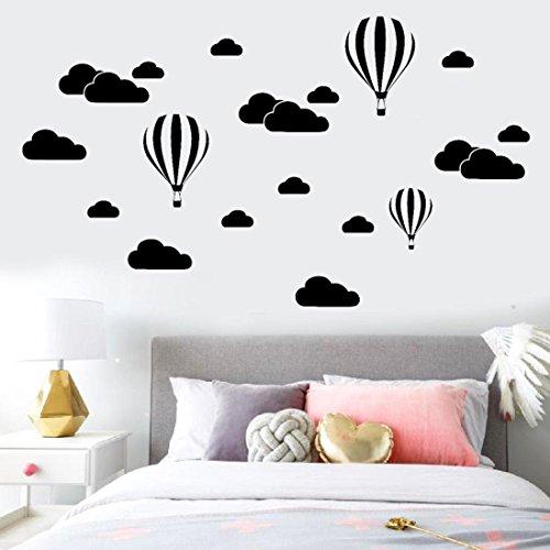 Diy-kunst (Wand Aufkleber, erthome DIY Große Wolken Ballon Wandtattoos Kinder zimmer Kunst Dekoration Stickers (Schwarz))