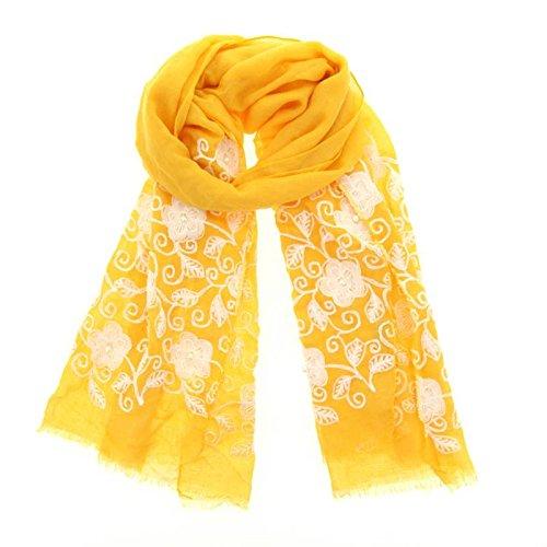 Fashiongen - Echarpe perle fleur oversize MACHA moutarde