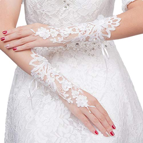 BESTOYARD Women's Lace Bride Wrist Short Gloves Party Costume Prom (White, 16x18x0.5...