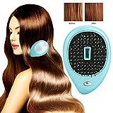 Spazzola per capelli ionica elettrica portatile, mini pettine per spazzola per capelli, spazzola per capelli massaggiatore elettrico, spazzola per pettine per massaggio con vibrazione (blu)