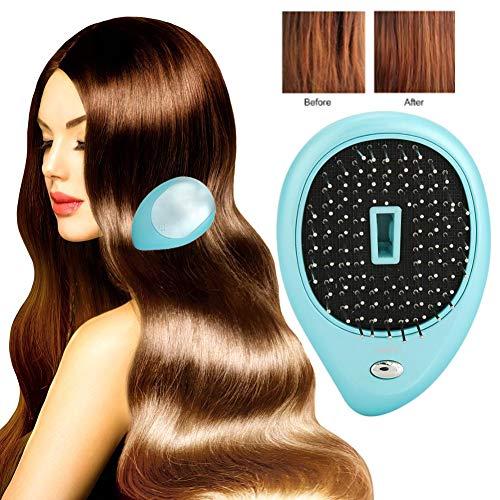 Portable électrique brosse à cheveux ionique, mini brosse à cheveux peigne cuir chevelu électrique Massant Caring Brush Vibration Massage peigne brosse à cheveux(Bleu)