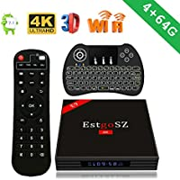 EstgoSZ 4K Android 7.1 Smart TV Box with LED Display,4GB RAM 64GB ROM RK3328 Quad-Core 64bits UHD Set Top Box Support 2.4G/5G Dual-Band Wifi H.265 3D Bluetooth 4.0 with Mini Wireless backlit keyboard