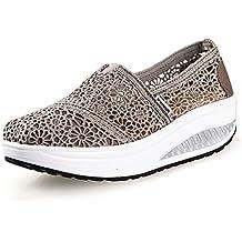 Yiiquanan Donna Traspirante Mesh Platform Sportive Pattini Fitness Scarpe da Ginnastica Sneaker da Zeppa (Sapphire,EU 36)