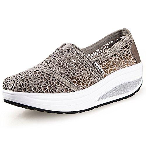 Hishoes Scarpe Outdoor Multisport Donna Mesh Piattaforma Casual Sandali Estive Scarpe da Ginnastica Traspirante Running Sneaker (41 EU, Grigio)