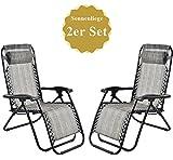 Sonnenliege mit Kopfkissen klappbar und Verstellbar Gartenliege Relax-Liegestuhl (2, Grau)