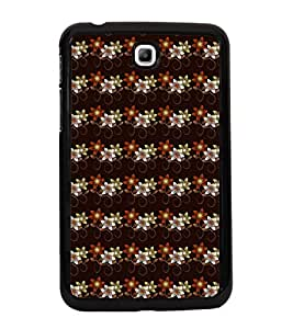 Fuson Premium 2D Back Case Cover Floral Pattern With Brown Background Degined For Samsung Galaxy Tab 3 T211 P3200