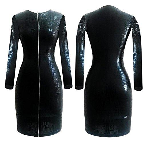 HMBB Schwarz Sexy Frau Latex Catsuit Schick Bodysuit, XXXL