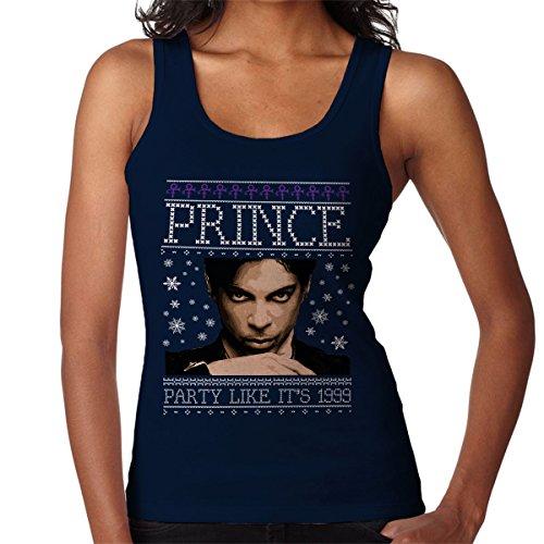 Prince Party Christmas Knit Women's Vest Navy blue