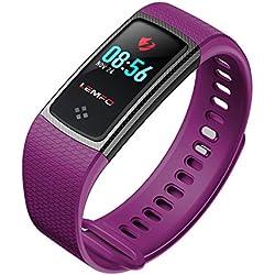 Desconocido LEMFO LT01 - Pulsera de Fitness con Pantalla LCD de Color (Impermeable, IP67, Monitor de frecuencia Cardíaca, Actividad), Color Morado
