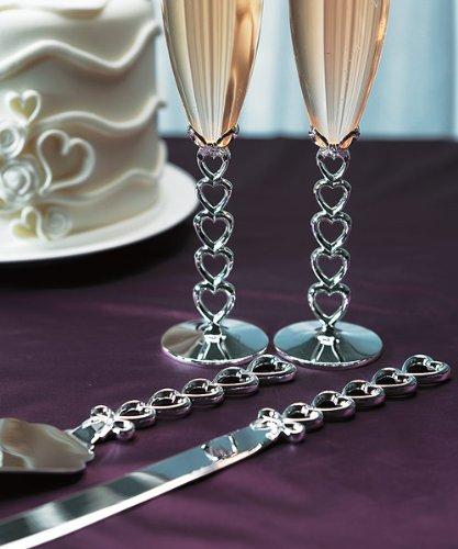 Weddingstar 8438 versilbert Stacked Herzen Kuchen Serving Set (Kuchen-serving-sets)