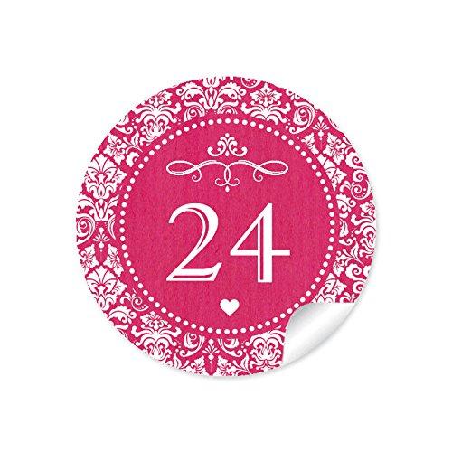 """'24Calendrier de l'Avent chiffres dans rouge fuchsia avec ornements et cœurs blancs """"Retro Look Papier Kraft Vintage pour un calendrier de l'avent/Sacs Papier & # x2022–Format 4cm, rond, mat"""