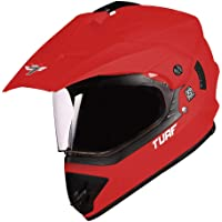 Steelbird Off Road TURF Motocross Helmet (Large 600 MM, Glossy Sports Red Aerodynamic Helmet for Man)
