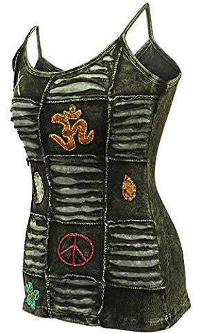 Shopoholic Fashion Faded Black Festival Women Emo Goth Slashed Tank Tops (S)