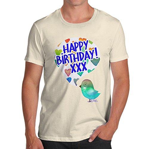 Herren Happy Birdy Birthday T-Shirt Elfenbein