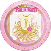 Unique Party - 58155 - Assiettes en Carton - 23 cm - 1ère Fête d'Anniversaire à thème Rose et Or - Paquet de 8