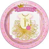 Unique Party 5815523cm rosa und gold Mädchen 1. Geburtstag Party Teller, 8Stück