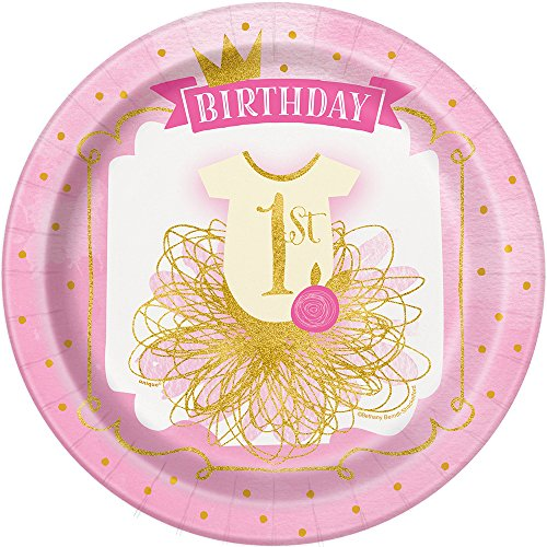 23cm rosa und gold Mädchen 1. Geburtstag Party Teller, 8Stück (Gold-und Rosa-party)