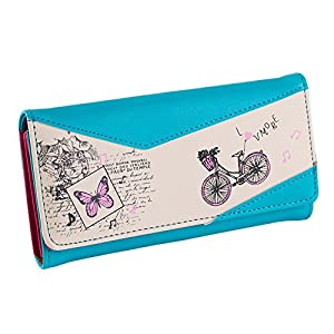 Hrph Long Women PU Leather Wallet Bicycle Butterfly Print Purse Women Press Stud Cute Coin Bill Bag Card Holder Wallet