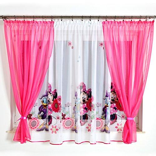 (MB GMM-4 Disney Kindergardine für Mädchen/Kinder mit Motiv Minnie Mouse für Kinderzimmer/Mädchenzimmer / Vorhänge Pink)