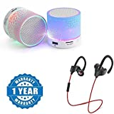 #9: captcha Certified Colorful LED Light Crack Pattern Mini Stereo Portable Wireless Bluetooth Speaker with QC-10 JOGGER SPORTS Bluetooth Headset V4.1(1 Year Warranty) Compatible With Mi Redmi Note 4G