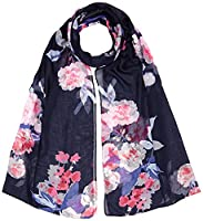 Joules Women's Wensley Scarf, Blue (French Navy Beau Bloom), One Size