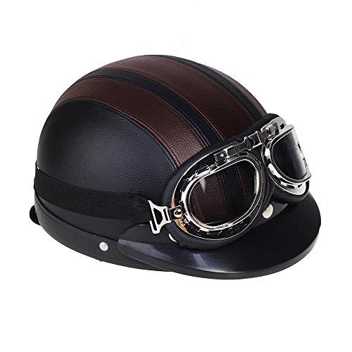 Shsyue® Casco Abierto Protección para Motocicleta de la Vendimia Retro con Visera Gafas Bufanda