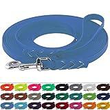 LENNIE BioThane Schleppleine 16 mm breit, 25 Farben/Azurblau, 1-30 Meter / 3 m, Handschlaufe, geflochten