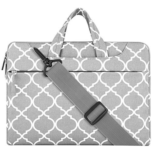MOSISO Notebooktasche Kompatibel 15-15,6 Zoll MacBook Pro, Notebook Computer Canvas Geometrisches Muster Laptop Schultertasche Sleeve Hülle mit Griff und Schulterriemen, Grau Quatrefoil (Laptop-computern Kleine)