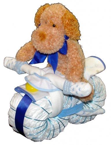 Windeltorte Junge / Windelmotorrad mit Kuscheltier blau - Perfektes Geschenk zur Geburt