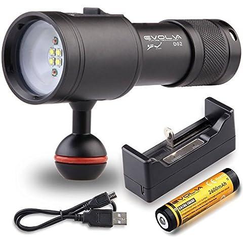 Evolva Future Technology D02 plongée sous-marine 100M vidéo / photographie torche de lumière lampe de poche (Torche + Batterie + Chargeur, vidéo/photographie torche)