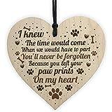 Cheyan Placa Conmemorativa para Perro o Gato, diseño de corazón de Madera con Texto en inglés