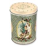 Grätz Verlag Keksdose Weihnachtswichtel - Plätzchendose Retro Dose für Kekse, klein mit Weihnachtswichtel, rund, grün, aus Blech, ca. 13cm hoch